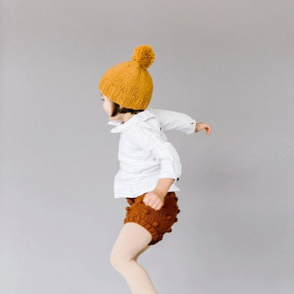 Single Pom Hat: Mustard