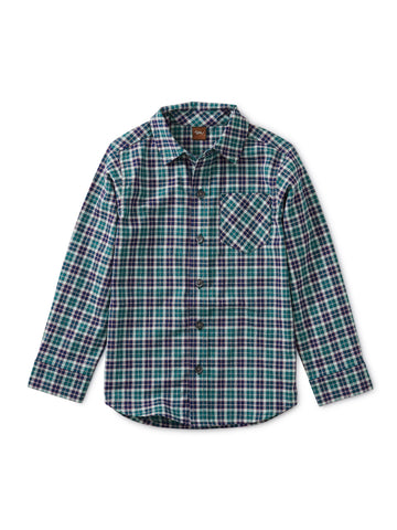 Patterned Button Up Shirt - Forest Plaid