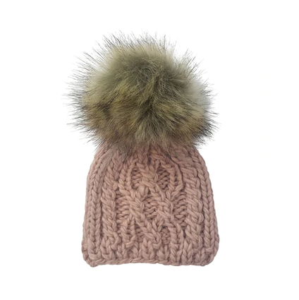 Cable Knit, with fur pom, Blush