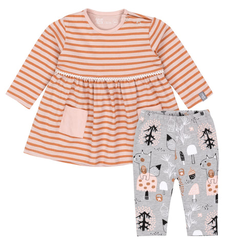 Dress and Legging Set: Striped Squirrel