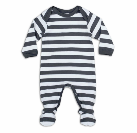 Pewter Rugby Stripe Footie S/S 2019