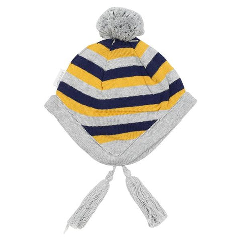 Polar Bear Striped Knit Beanie: Str Navy