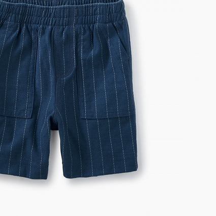 Striped Playwear Baby Shorts - Loch Blue Ticking Stripe