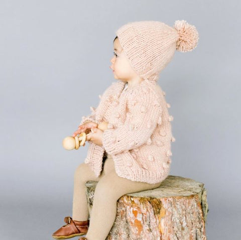 Single Pom Hat: Pale Dogwood Pink