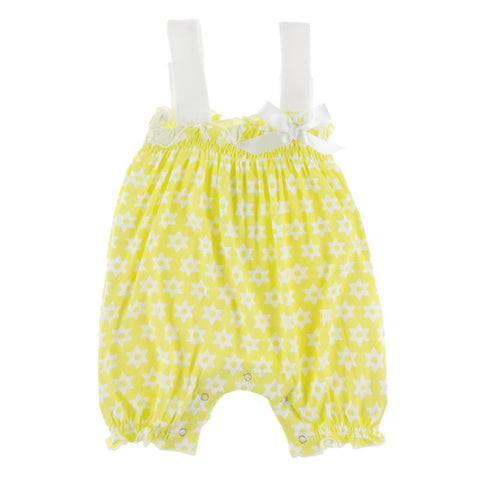 Print Gathered Romper with Bow - Lime Blossom Lemon Tree