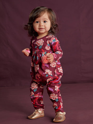 Floral Wrap Neck Romper - Bhutanese Dragon