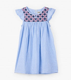 Nautical stripes embroidered dress