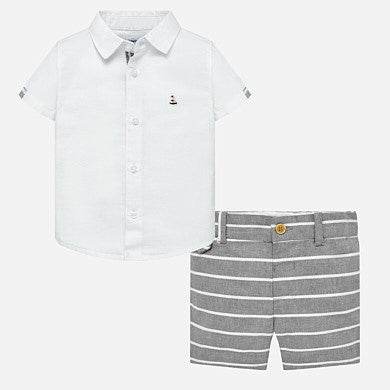 Linen short set Gray