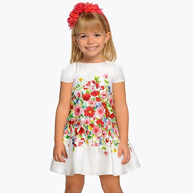 Printed flowers dress Red