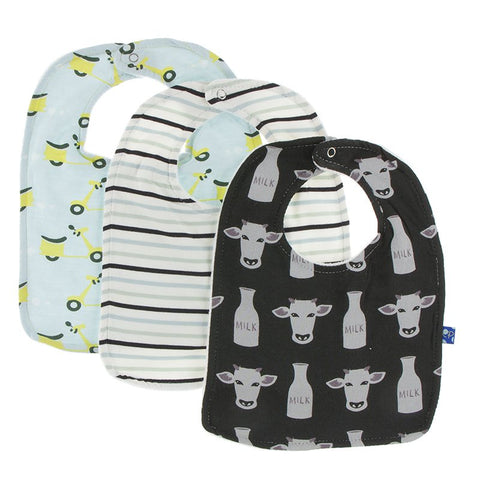 Bib Set - Zebra tuscan cow, tuscan afternoon stripe and spring sky scooter