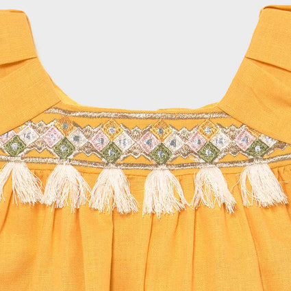 Embroidered linen dress: Mustard