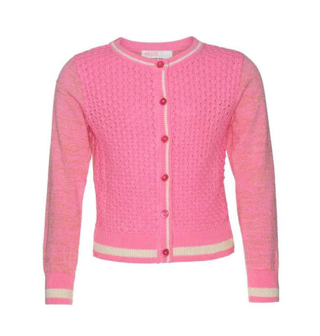 Pink knitted girls' cardigan decorated with different knitted patterns