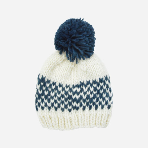 Fair Isle Stripe Hat - Denim