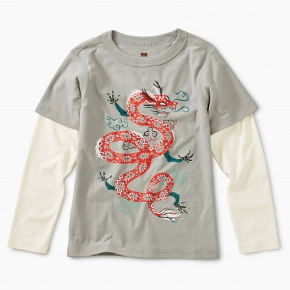 Fire Dragon Grphc Layered Tee: Stratus