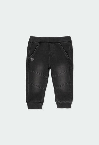 Fleece denim trousers for baby boy: Black