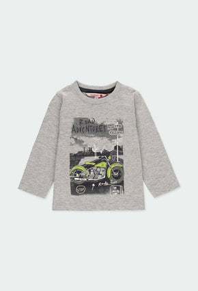 "Knit t-Shirt ""motorcycle"" for  boy: Grey"