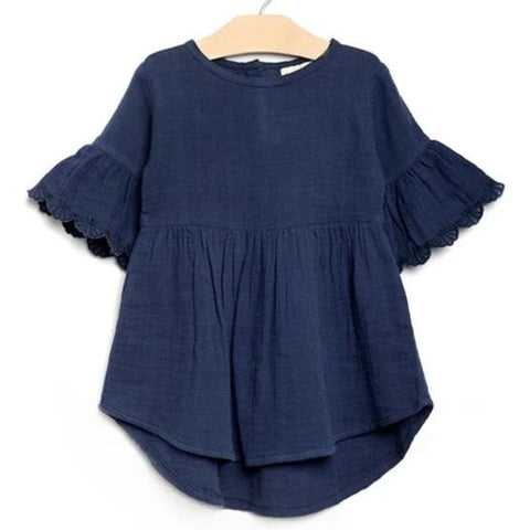Midnight Blue Muslin Flutter Sleeve Dress