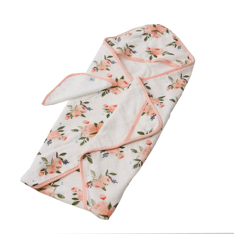 Watercolor Rose Hooded Towel and Washcloth Set