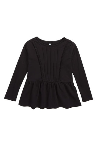 Pleated Pintuck Top Jet Black