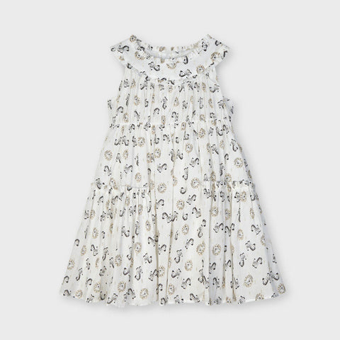 Voile printed dress: Natural