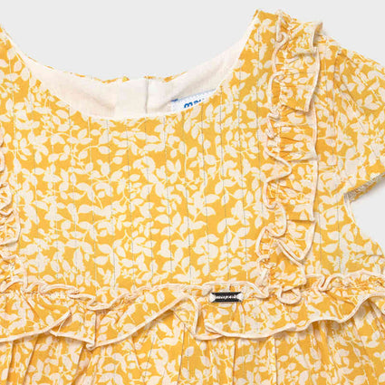 Voile printed dress: Mustard