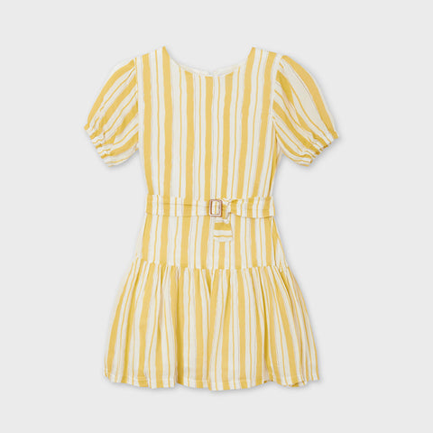 Striped dress with belt: Mustard