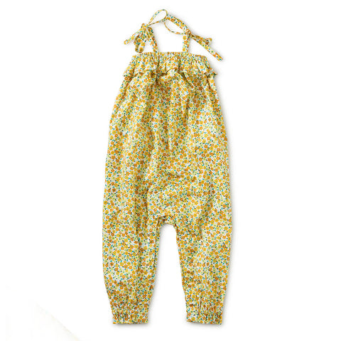Tie Shoulder Baby Romper: Wildflowers in Gold