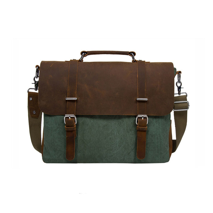 Vintage Canvas Leather Laptop Messenger Bag