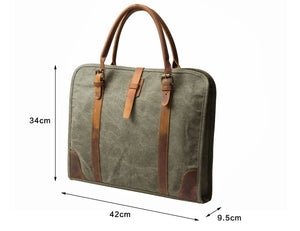 Canvas & Real Leather Laptop Briefcase