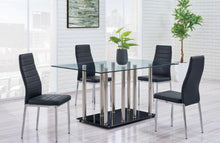 Wrought Iron 5pc Dining w/ PU Black Chairs