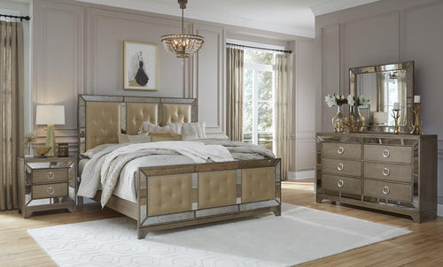 Portofino Gold Mirrored Bedroom Set