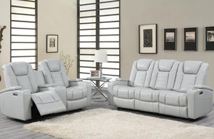 Reclining power chalk colored living room set