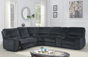 Reclining Black Velvet Sectional