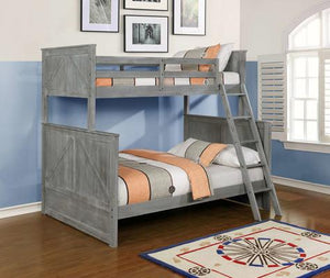 Twin/Full Grey Stackable Bunkbed