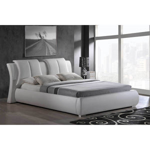 White Pillowed Platform bed 8269-W