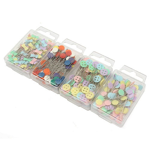 Fashion 100Pcs/box Mixed Colors Patchwork Pins Flower Button Head Pins with Box Home DIY Arts Quilting Tool Sewing Accessories