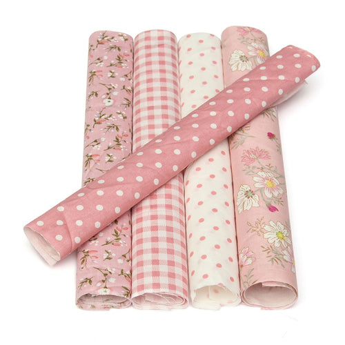 5Pcs Pink Flower Dots Assorted Pre Cut Quilting Cotton Fabric Household Sewing Clothing Patchwork Doll Needlework DIY Material