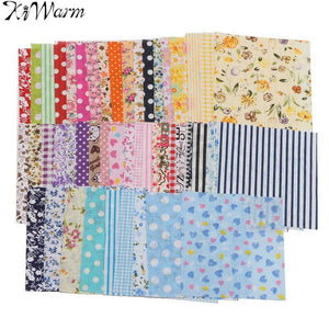 KiWarm Durable 50Pcs Floral Cotton Fabric For Sewing Patchwork Quilting Doll Cloth Handmade Needlework DIY Material 10*10cm