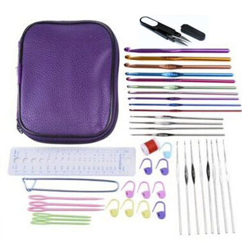 Portable Case with 22 Crochet Hooks + 20 Knitting Accessories