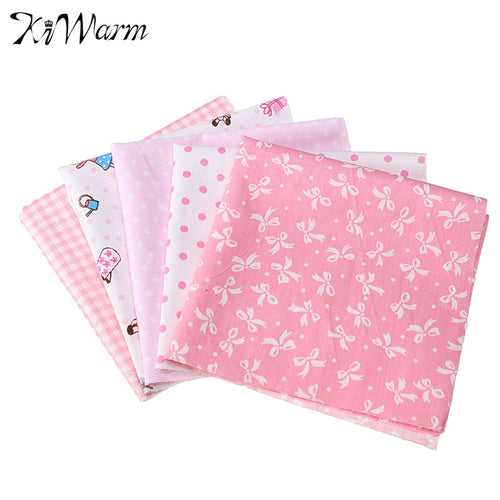 KWarm Hot 5Pcs Assorted Pink Squares Quilting Cotton Fabric for Home Sewing DIY Craft Handmade Patchwork Cloth 25*25cm
