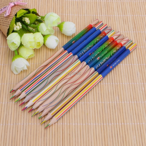 10 Pcs Rainbow Color Pencil 4 in 1 Colored Drawing Painting Tools Z14 Drop ship