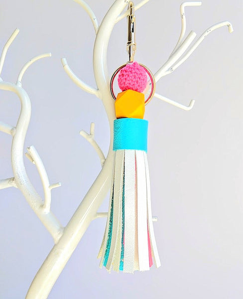 Large Tassel and Wood Bead Key Chains WHITE