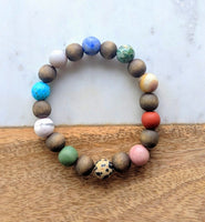 Wood Bead and Gemstone Bracelet Brown Wood