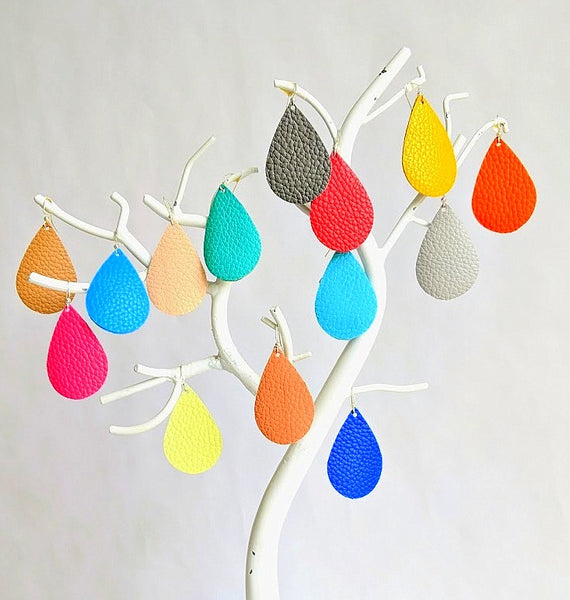 Raindrop Leather Earrings