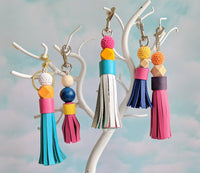 Large Tassel and Wood Bead Key Chains TURQUOISE