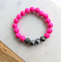 Wood Bead and Gemstone Bracelet Fuschia