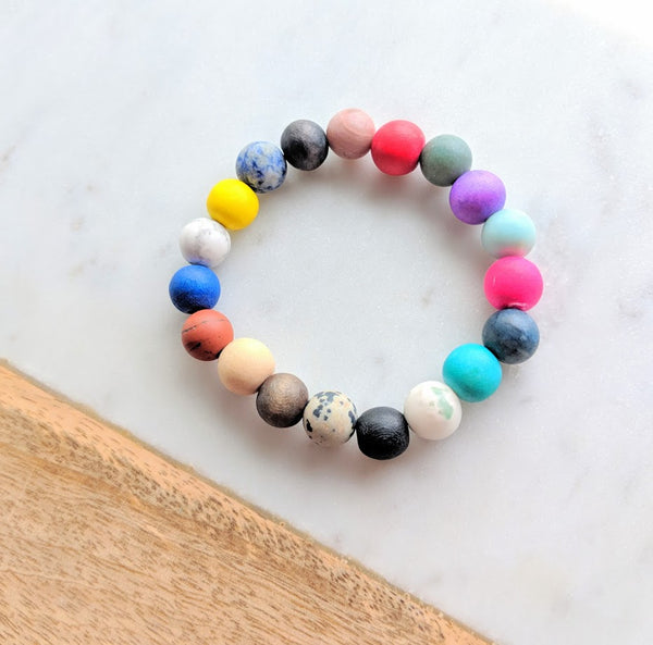 Wood Bead and Gemstone Bracelet Multi-Colour