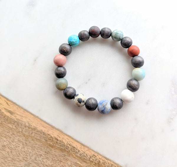 Wood Bead and Gemstone Bracelet Grey Wood