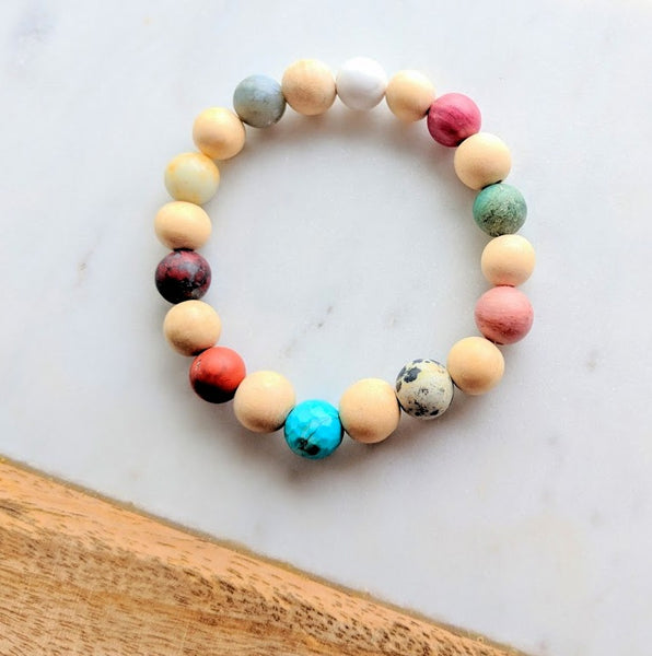 Wood Bead and Gemstone Bracelet Natural Wood