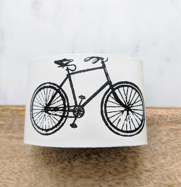 Wide Leather Bracelets Bike Print WHITE